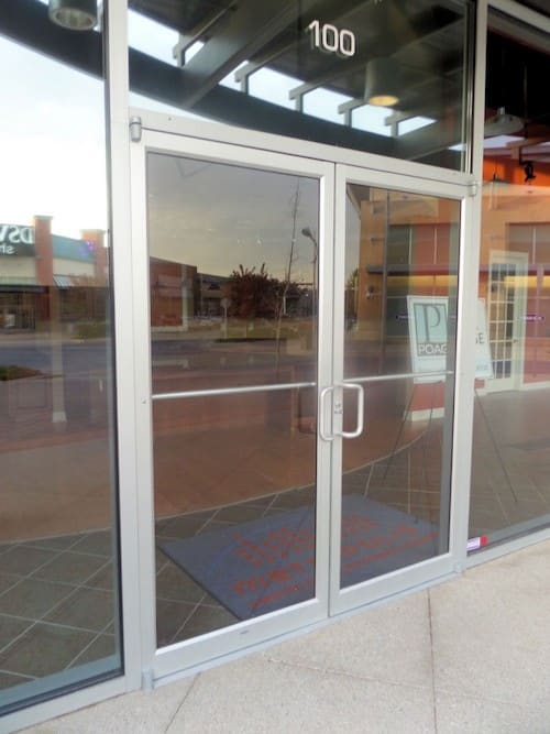 storefront glass door with door pivots