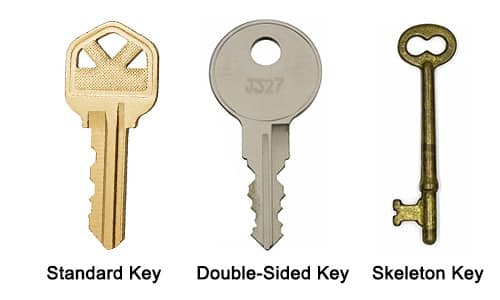 image of a standard key, a double-sided key, and a skeleton key