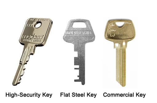 image of a high-security key, flat steel key, commercial key